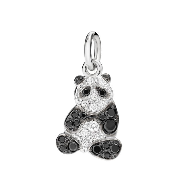 DoDo Panda in 18k White Gold with White and Black Diamonds
