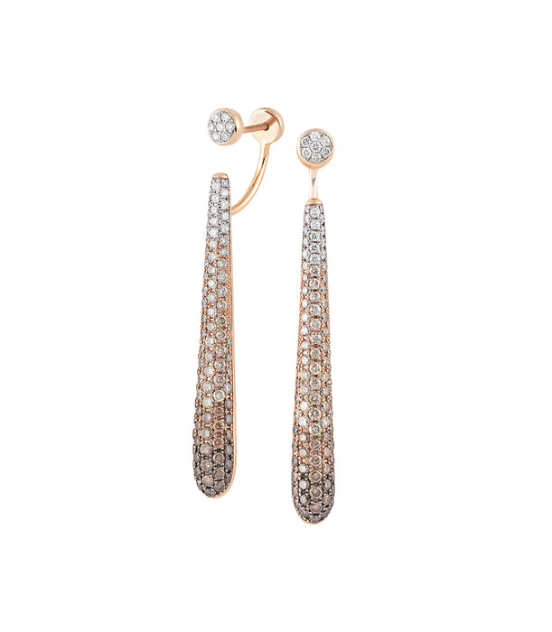 Amori Earrings in 18k Rose Gold with Brown and White Diamonds