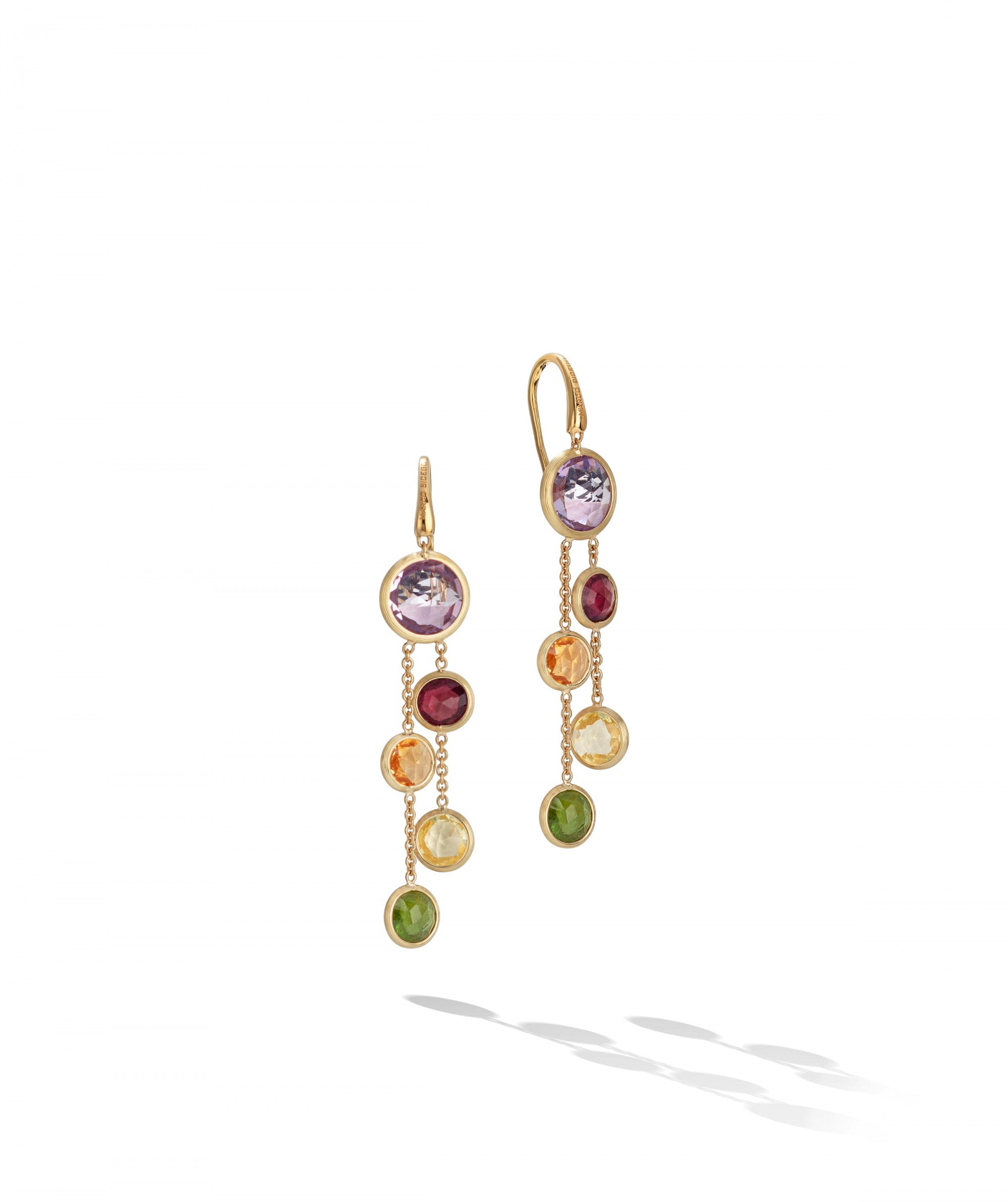 Jaipur Colour Drop Earrings with French Hook in 18k Yellow Gold with Mixed Gemstones - Orsini Jewellers NZ