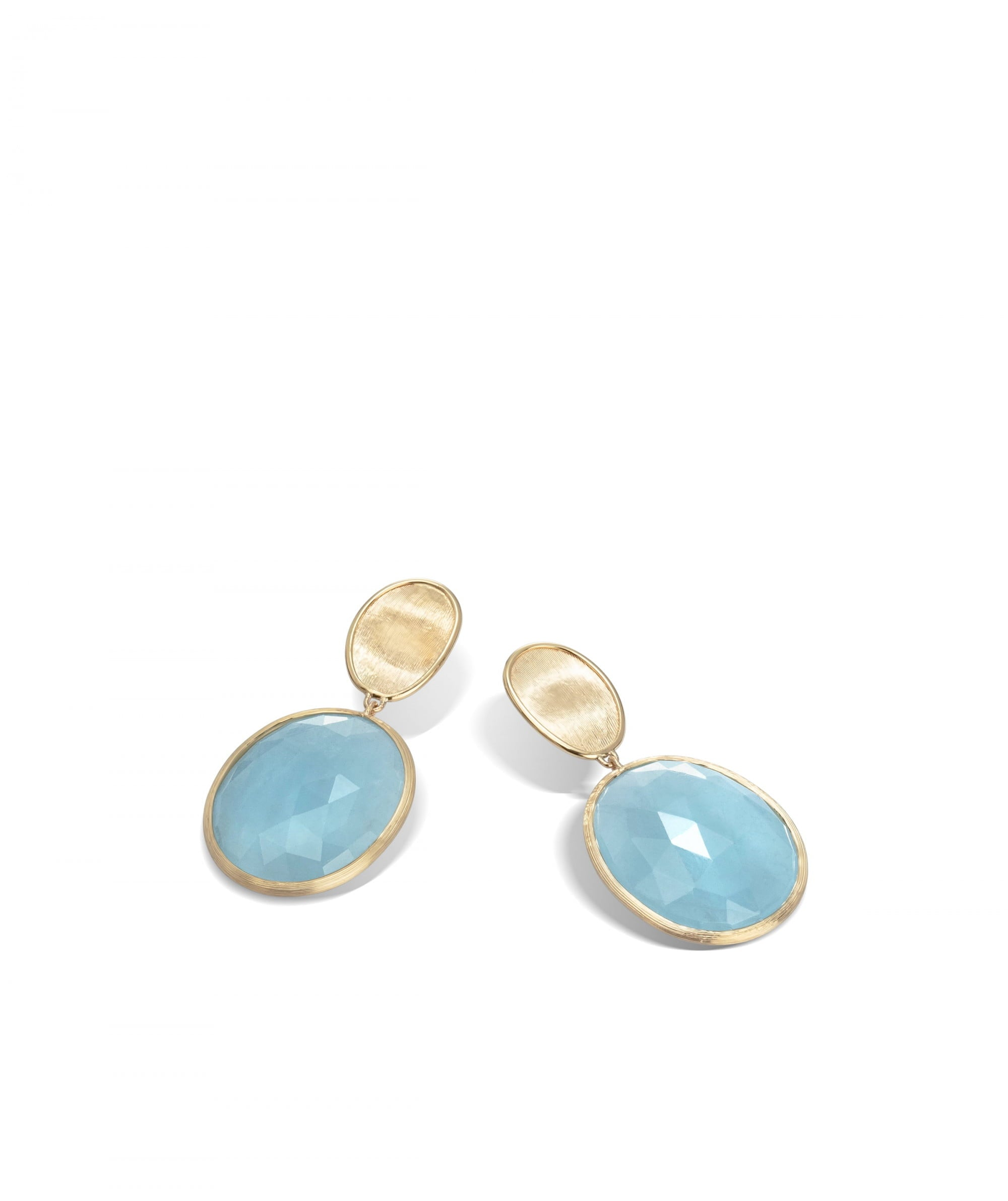 Lunaria Earrings in 18k Yellow Gold with Aquamarine Double Drop - Orsini Jewellers NZ