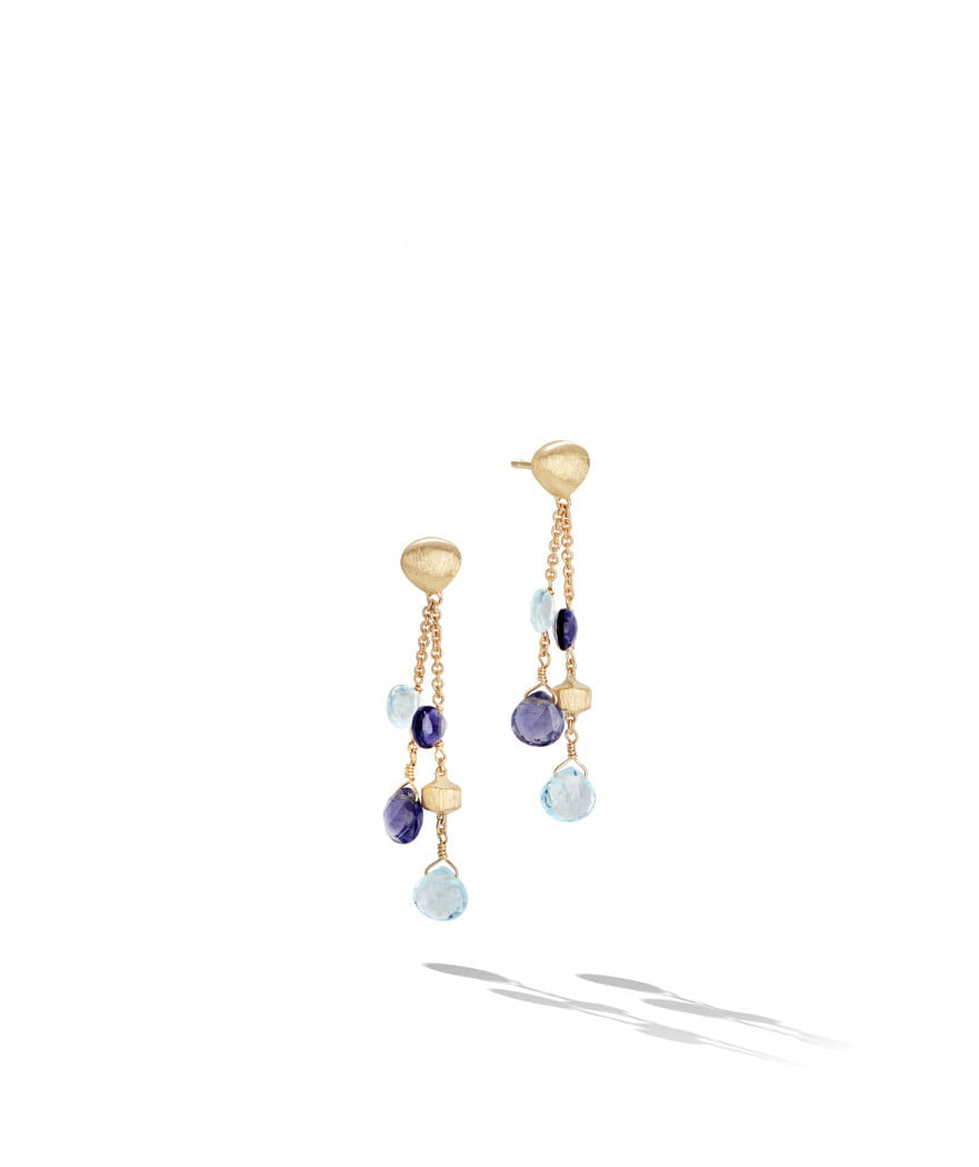 Paradise Earrings in 18k Yellow Gold with Iolite and Sky Blue Topaz Double