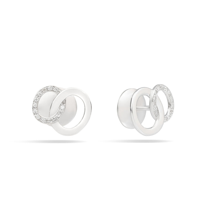 Brera Earrings in 18k Rhodium-plated White Gold and Diamonds