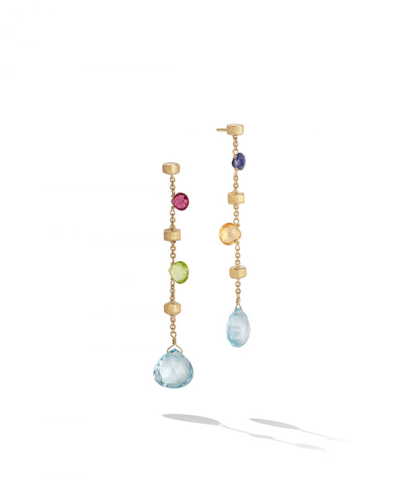 Paradise Earrings in 18k Yellow Gold with Gemstones Long