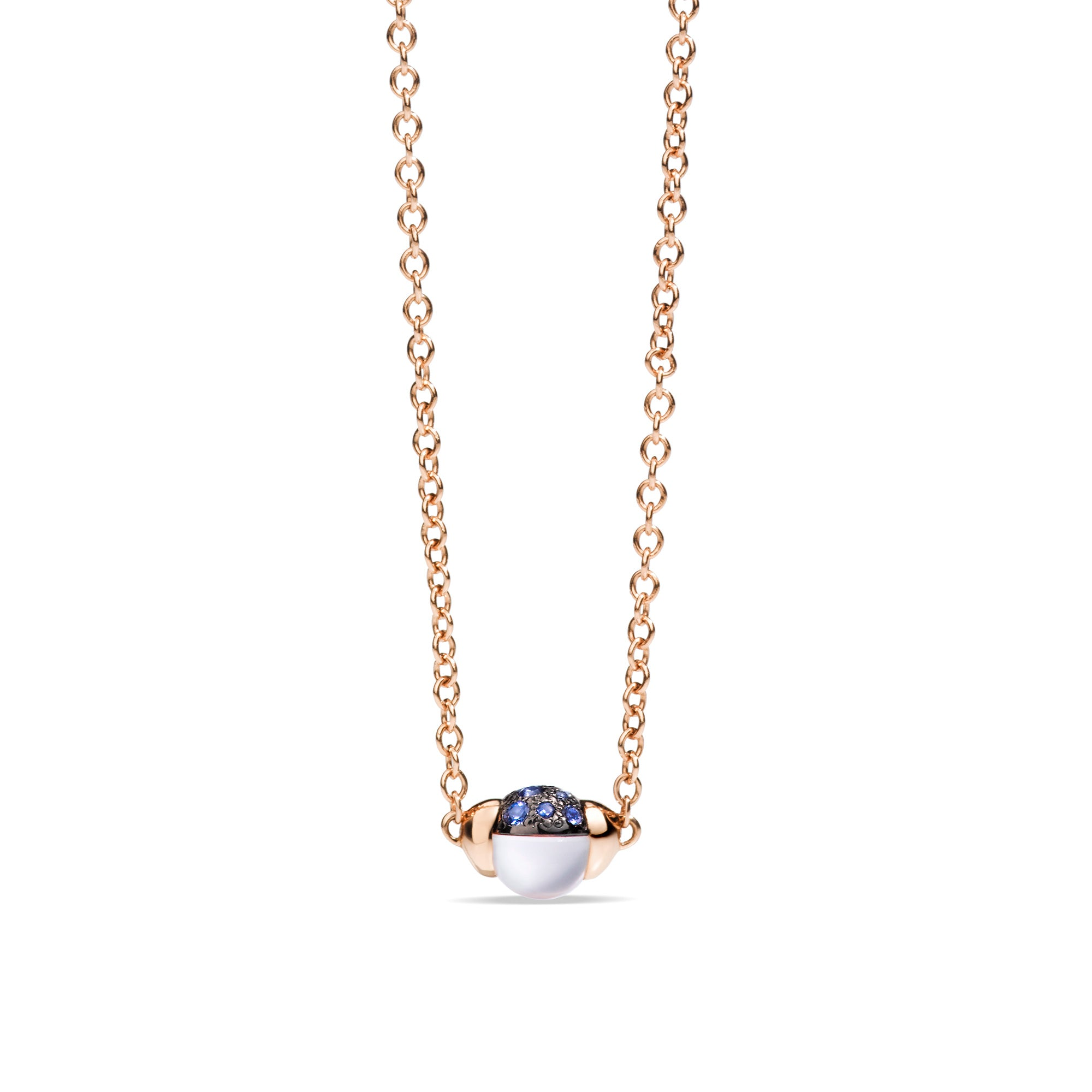 M'ama non M'ama Necklace with Pendant in 18k Rose Gold with Moonstone and Blue Sapphires - Orsini Jewellers NZ