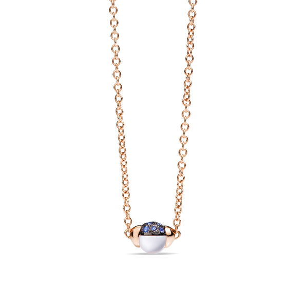 Mama Non Mama Moonstone Gold Necklace with Blue Sapphires