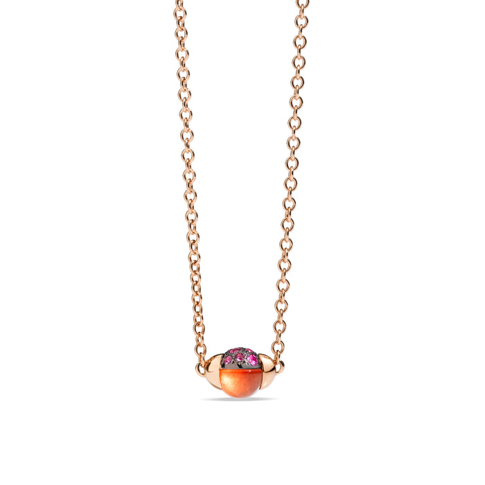 M'ama non M'ama Pendant with Chain in 18k Rose Gold with Hessonite Garnet and Pink Sapphires