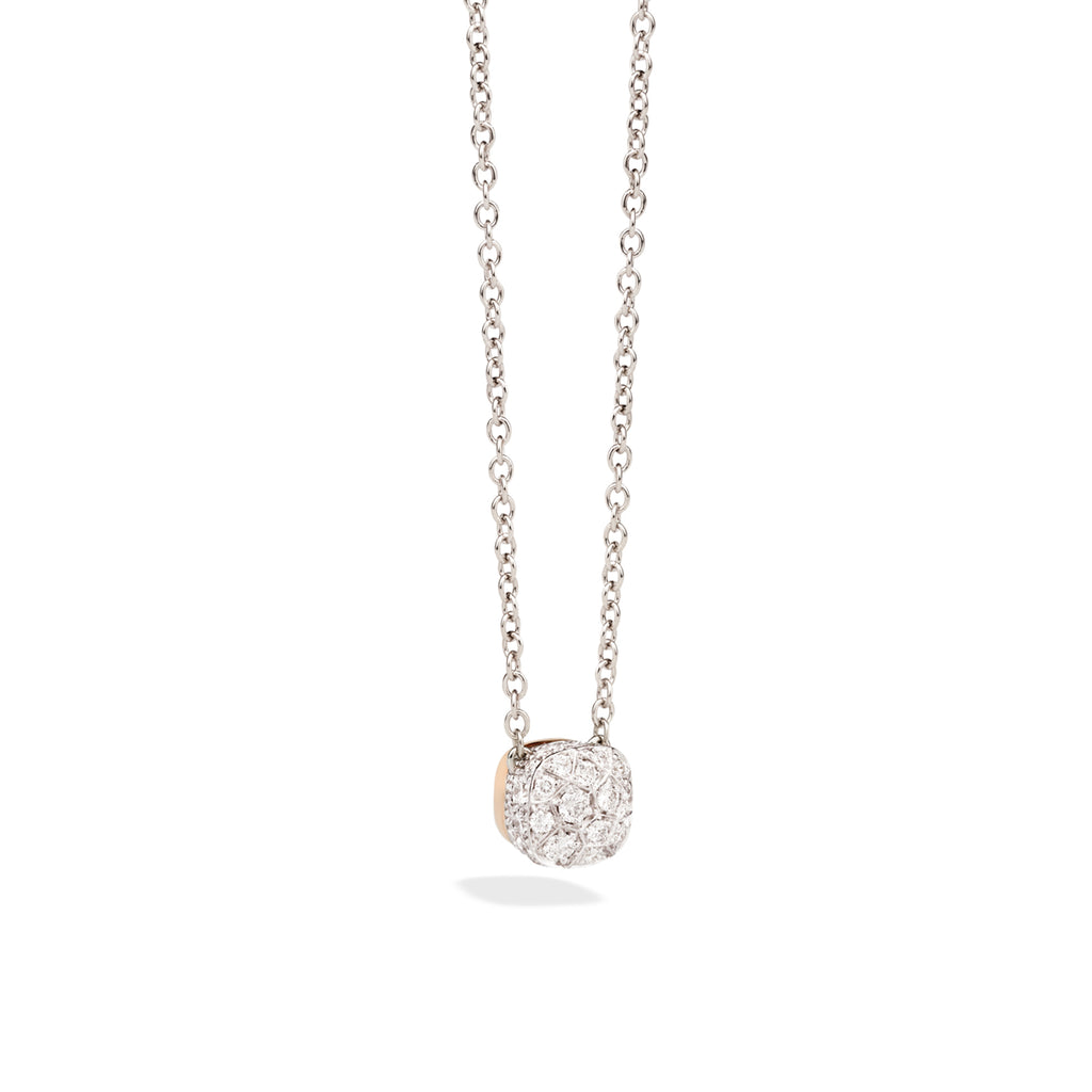 Chain with Pendant in Rose Gold and Polished and Burnished White Gold, Diamonds ct 0.84