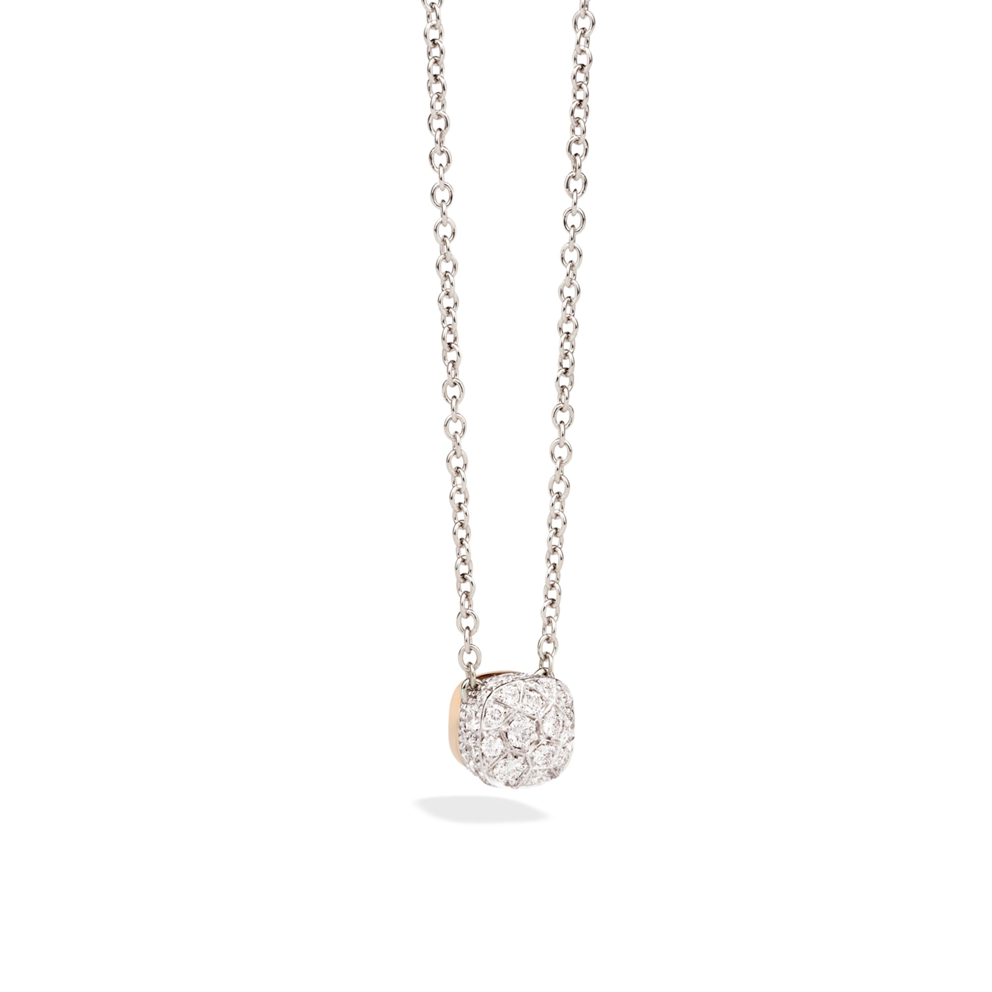 Nudo Necklace with Petit Pendant in 18k Rose and White Gold and Pave Diamonds - Orsini Jewellers NZ