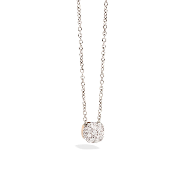 Nudo Necklace with Petit Pendant in 18k Rose and White Gold and Pave Diamonds