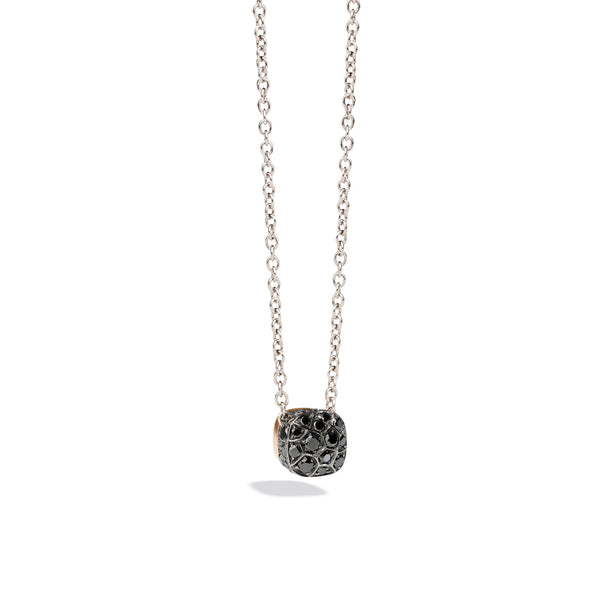 Chain with Pendant in Rose Gold and Polished and Burnished White Gold, Black Diamonds ct 0.84