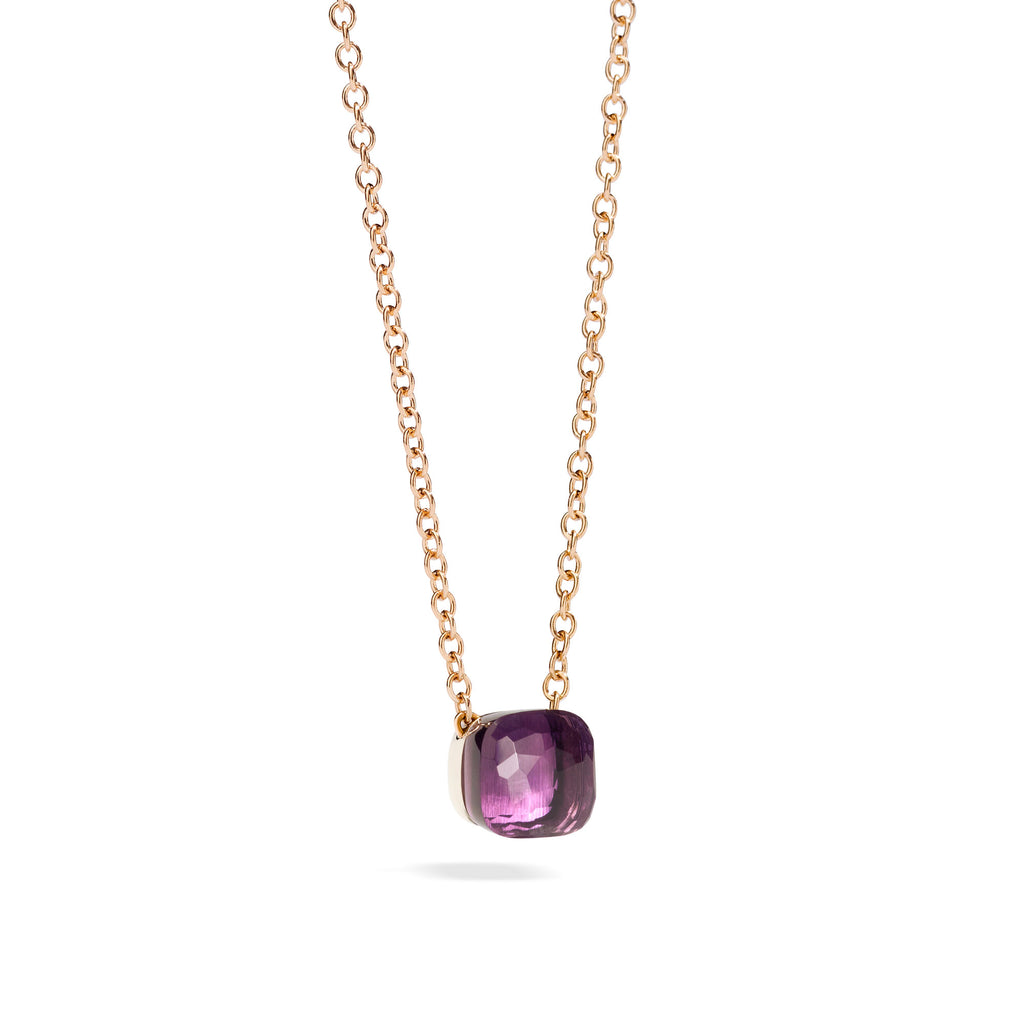 Nudo Pendant with Amethyst and Chain in Rose Gold