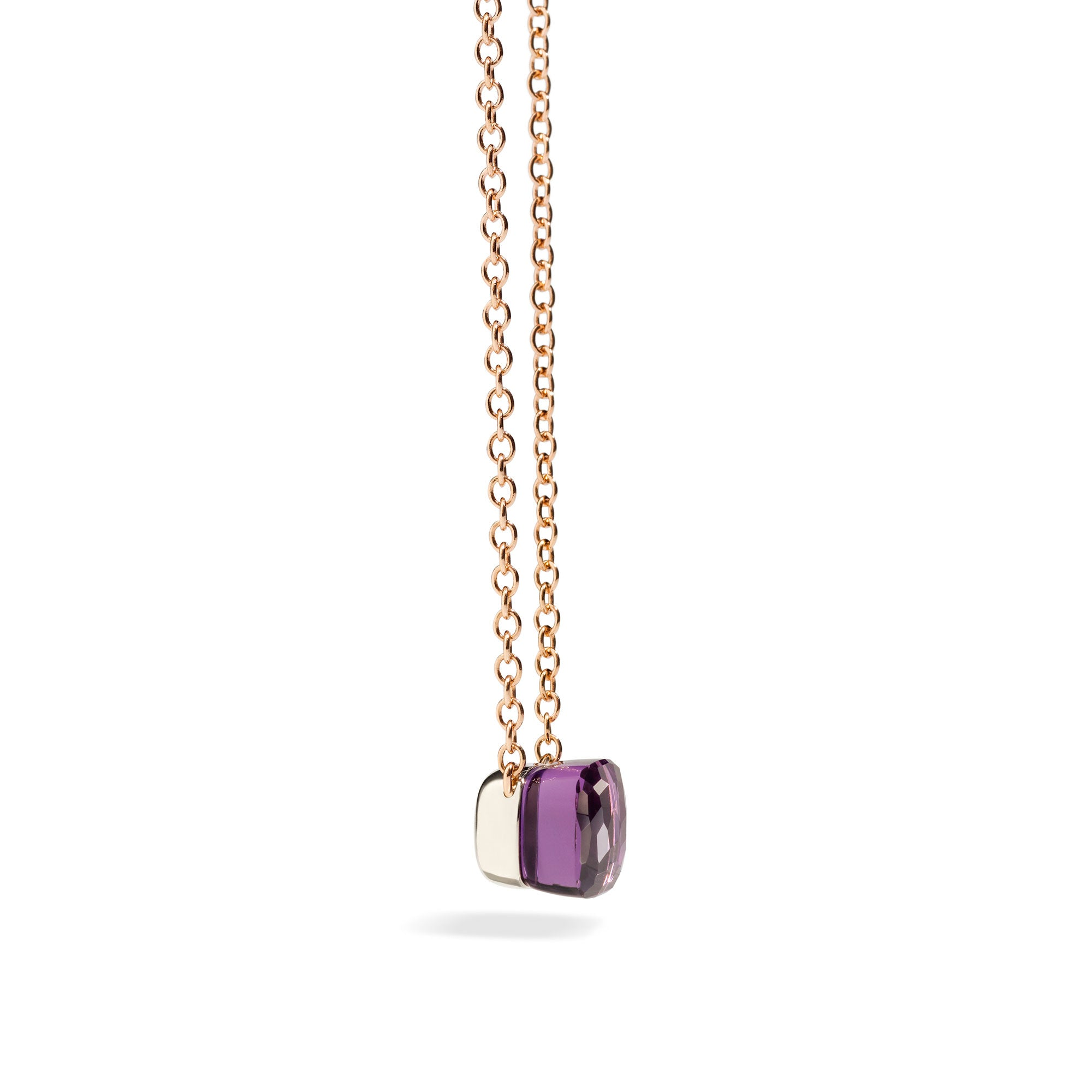 Nudo Necklace with Petit Pendant in 18k Rose and White Gold with Amethyst - Orsini Jewellers NZ