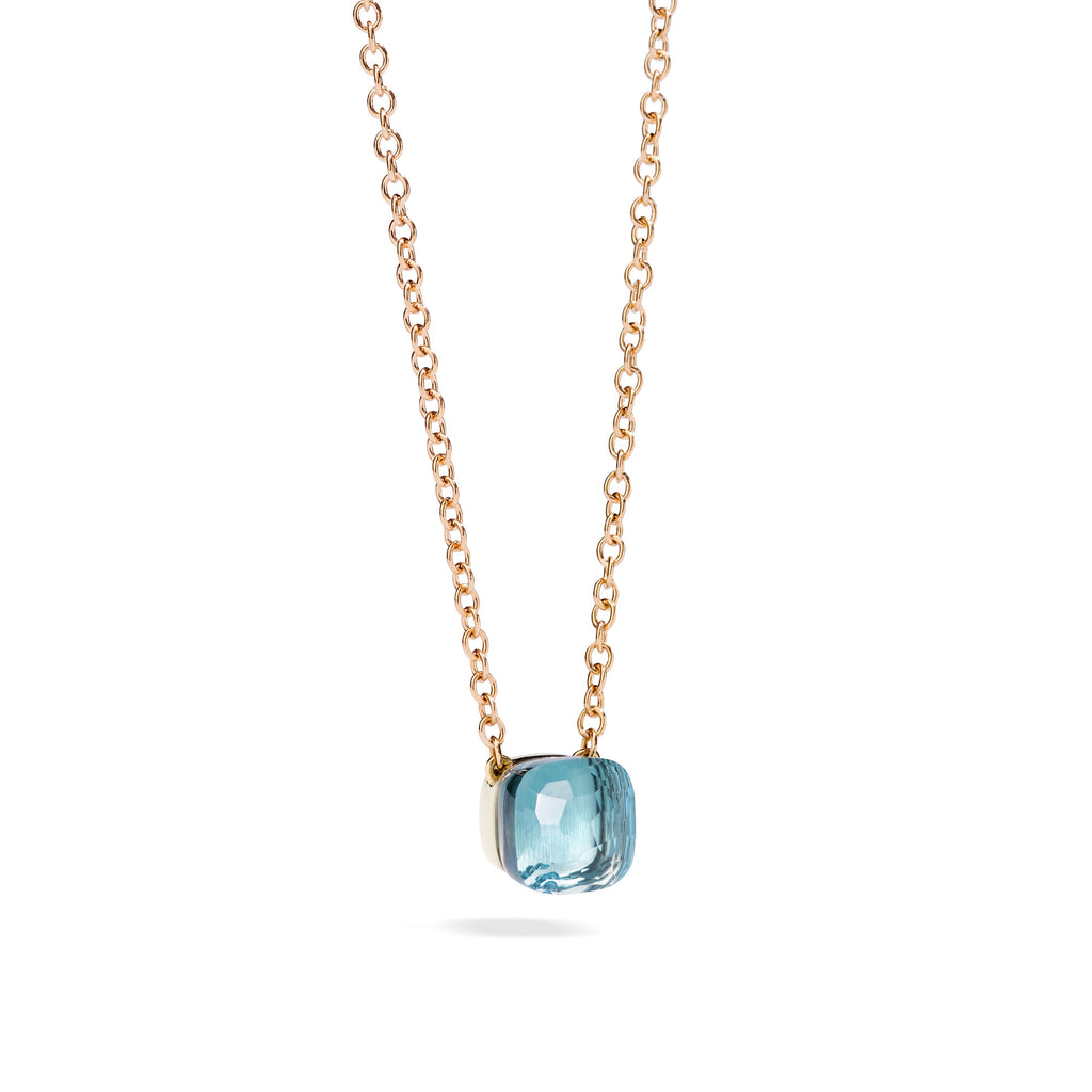 Nudo Pendant with Blue Topaz and Chain in Rose Gold