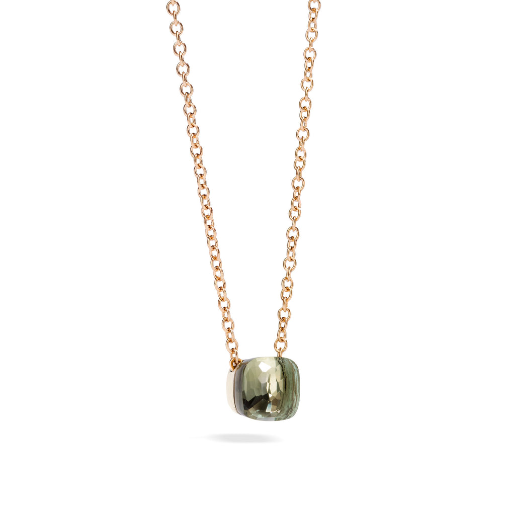 Nudo Pendant with Prasiolite and Chain in Rose Gold