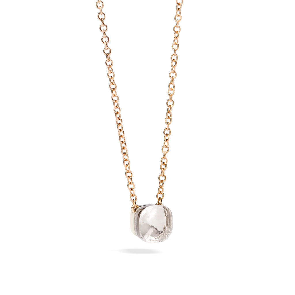 Nudo Pendant with White Topaz and Chain in Rose Gold