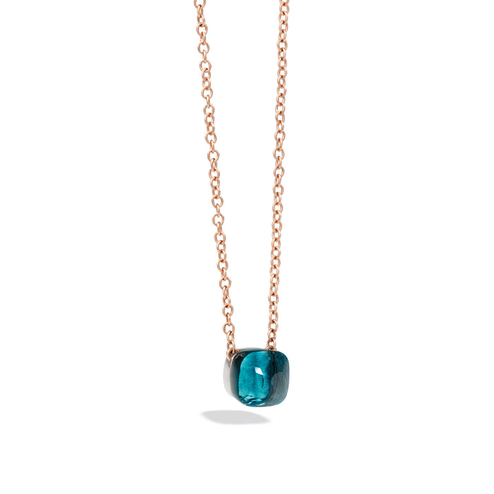 Nudo Necklace with Petit Pendant in 18k Rose and White Gold with London Blue Topaz