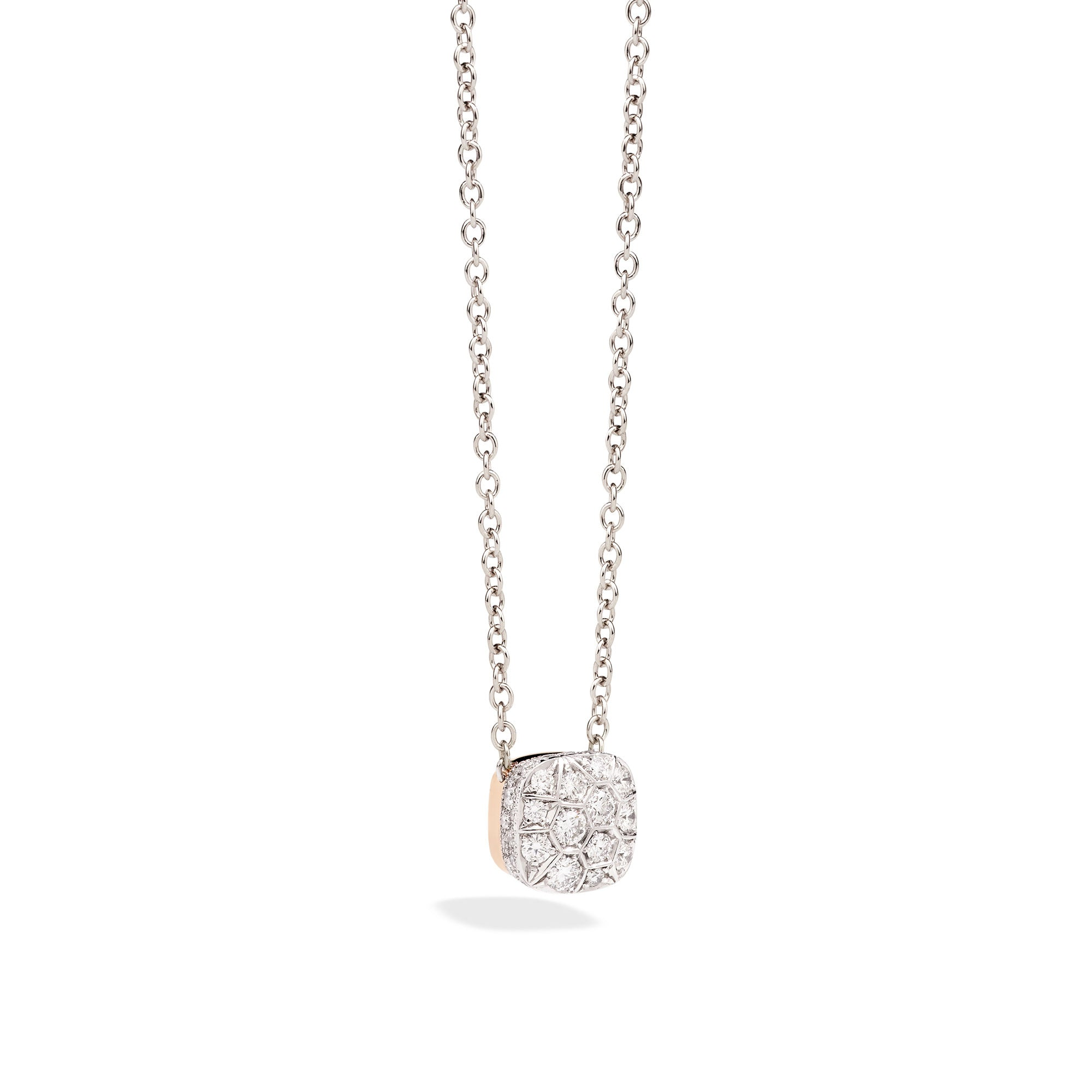 Nudo Necklace with Large Pendant in 18k Rose and White Gold with Diamonds - Orsini Jewellers NZ