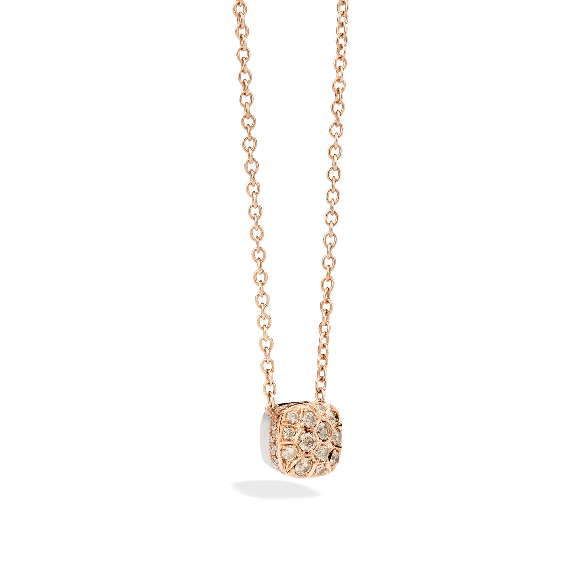 Nudo Necklace with Large Pendant in 18k Rose and White Gold with Brown Diamonds