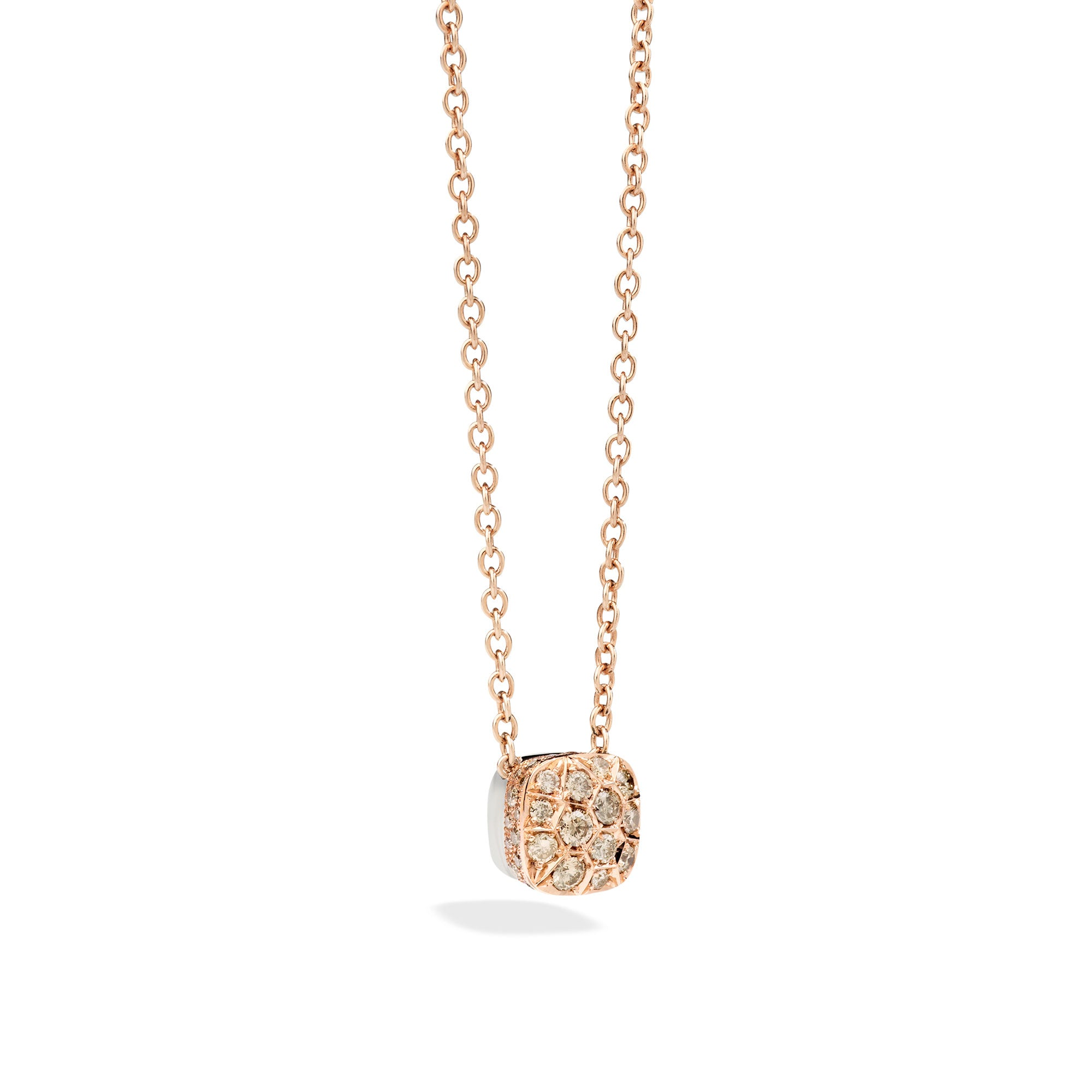 Nudo Necklace with Large Pendant in 18k Rose and White Gold with Brown Diamonds - Orsini Jewellers NZ