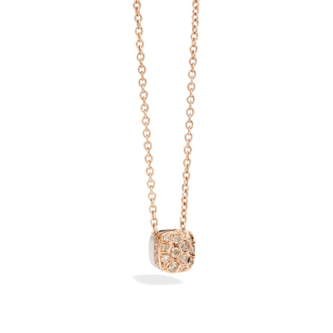 Chain with large Pendant in Rose Gold and White Gold with Brown Diamonds ct 1,48