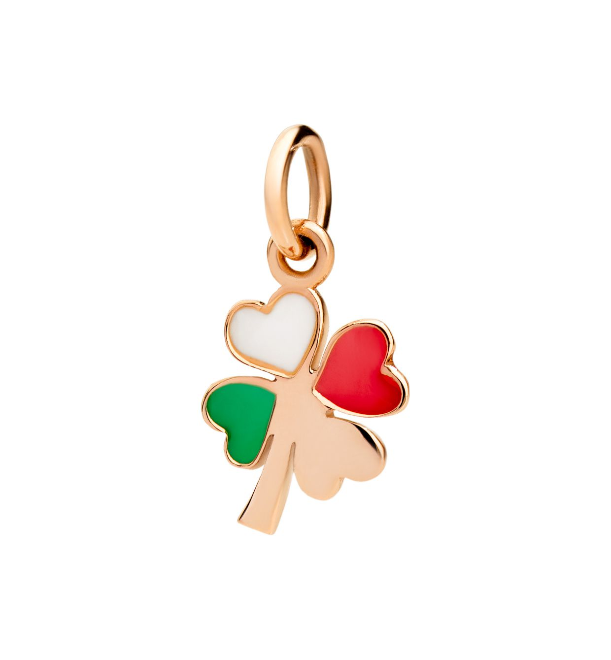 DoDo Four Leaf Clover in 9k Rose Gold with Green, White and Red Enamels - Orsini Jewellers NZ