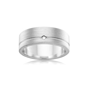 Flat men's wedding band with single round diamond & grain parallel finish