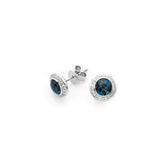 Funghetti Blue Topaz & Diamond Stud Earrings by Hulchi Belluni