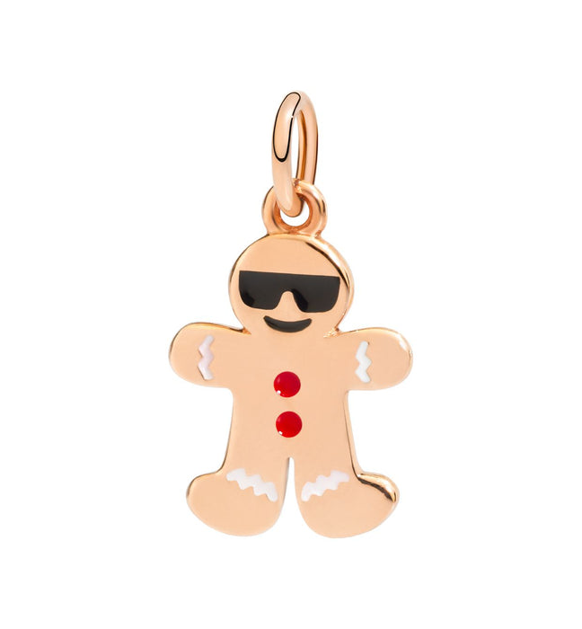 Dodo Charm Gingerbread Man in 9k Rose Gold with multicoloured Enamel