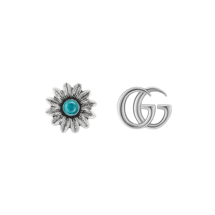 Gucci GG Marmont Stud Earrings in Shiny Aged Sterling Silver with Blue Topaz
