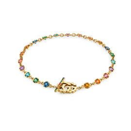 Gucci GG Running Bracelet in 18k Yellow Gold with Topaz, Quartz, Tsavorite, and Sapphire