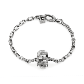 G Cube Bracelet in Aged Sterling Silver with Crystals