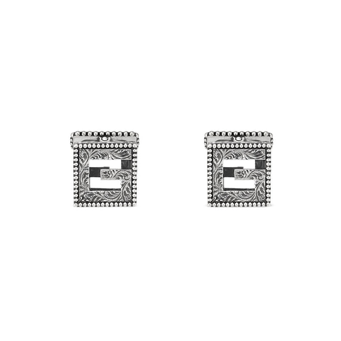 G Cube Cufflinks in Aged Sterling Silver
