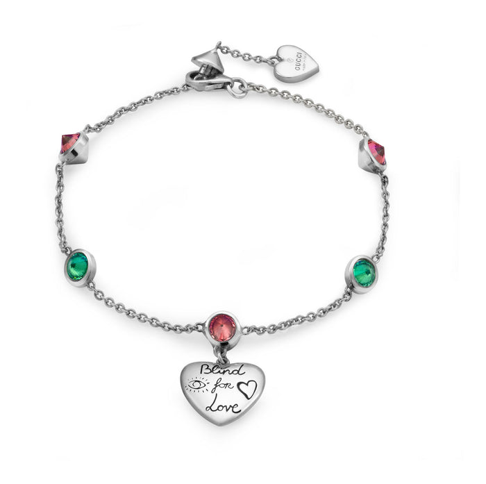 Gucci Blind For Love Bracelet in Sterling Silver with Green and Pink Zirconia
