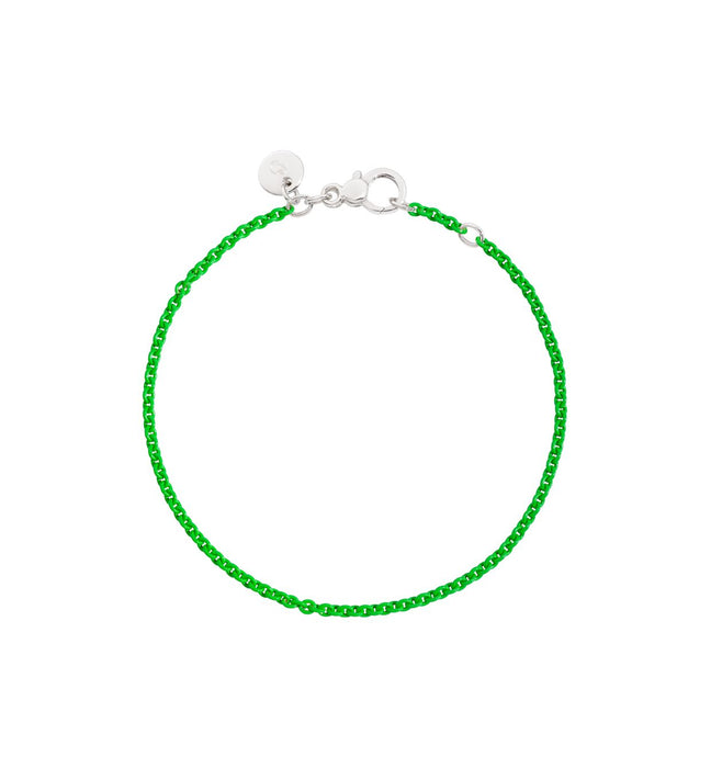 DoDo Chain Bracelet in Green Lacquered Silver