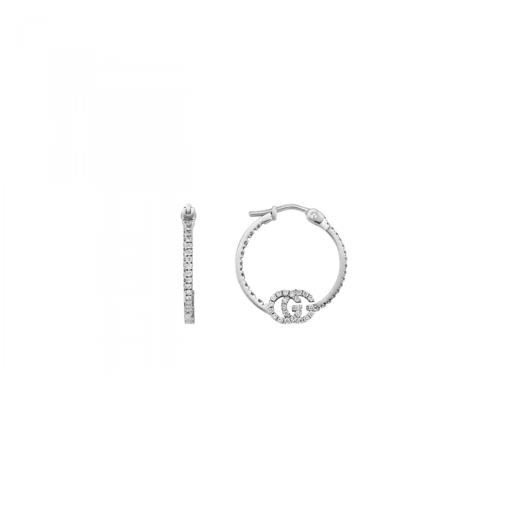Gucci GG Running Hoop Earrings in 18K White Gold with Diamonds - Orsini Jewellers NZ