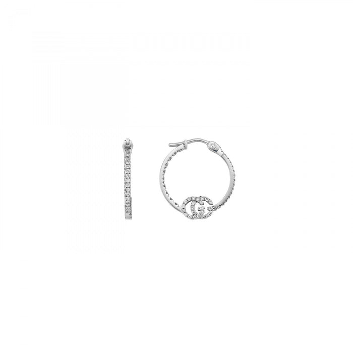 Gucci GG Running Hoop Earrings in 18K White Gold with Diamonds
