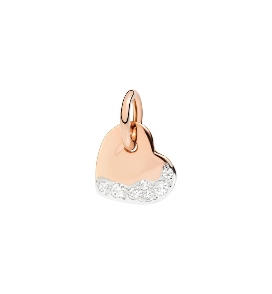 Dodo Heart Rose Gold and White Diamonds Charm