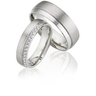 White Gold Half Round Matching Wedding Rings, with Grain Parallel Finish & Diamond Edge Detailing