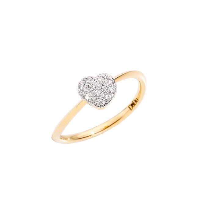 DoDo Heart Ring in 18k Yellow Gold with Diamonds - mini