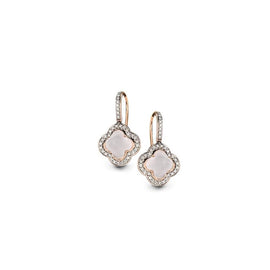 Hulchi Belluni Earrings in 18k Rose Gold with Pink Quartz and Diamonds