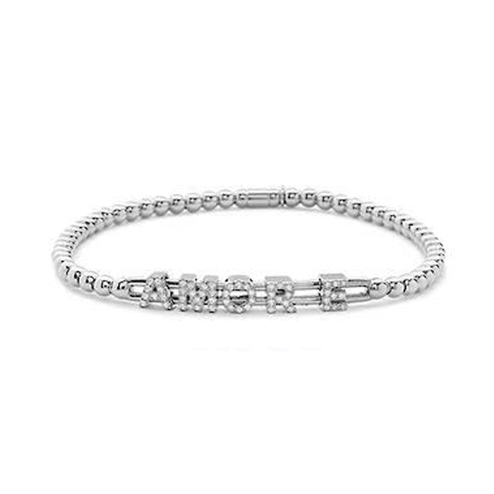 Hulchi Belluni Amore 'Love' Diamonds & 18k White Gold Ball Stretch Bracelet