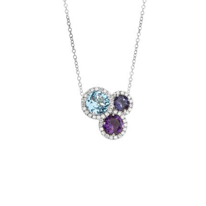 Hulchi Belluni Colori Collection Diamond & Gemstone Pendant in 18k White Gold