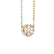 Hulchi Belluni Foglio Diamond Pendant in18k Yellow Gold with Diamonds
