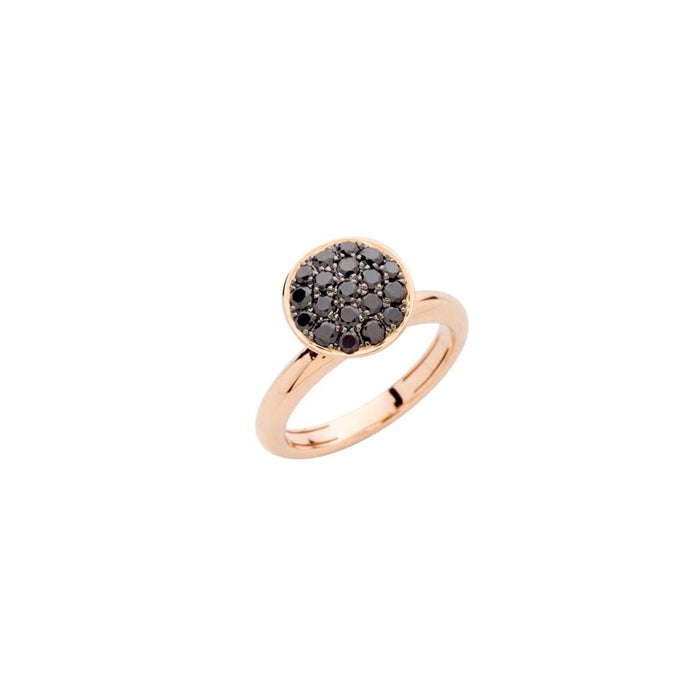 Hulchi Belluni Large Funghetti ring black dimaonds and rose gold