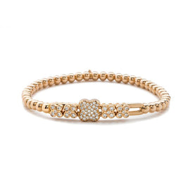Hulchi Belluni Quadrifoglio Diamonds & 18k Sm Gold Ball Stretch Bracelet