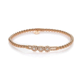 Hulchi Belluni Tresore Pave Diamond with Three Pave Sliding Balls Stretch Bracelet Rose Gold