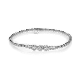 Hulchi Belluni Tresore Pave Diamond with Three Pave Sliding Balls Stretch Bracelet White Gold