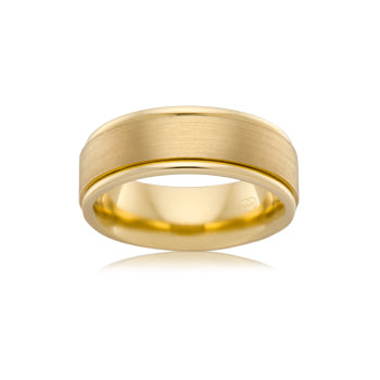 Yellow gold barrel shaped wedding band with grain parallel finish & smooth edges
