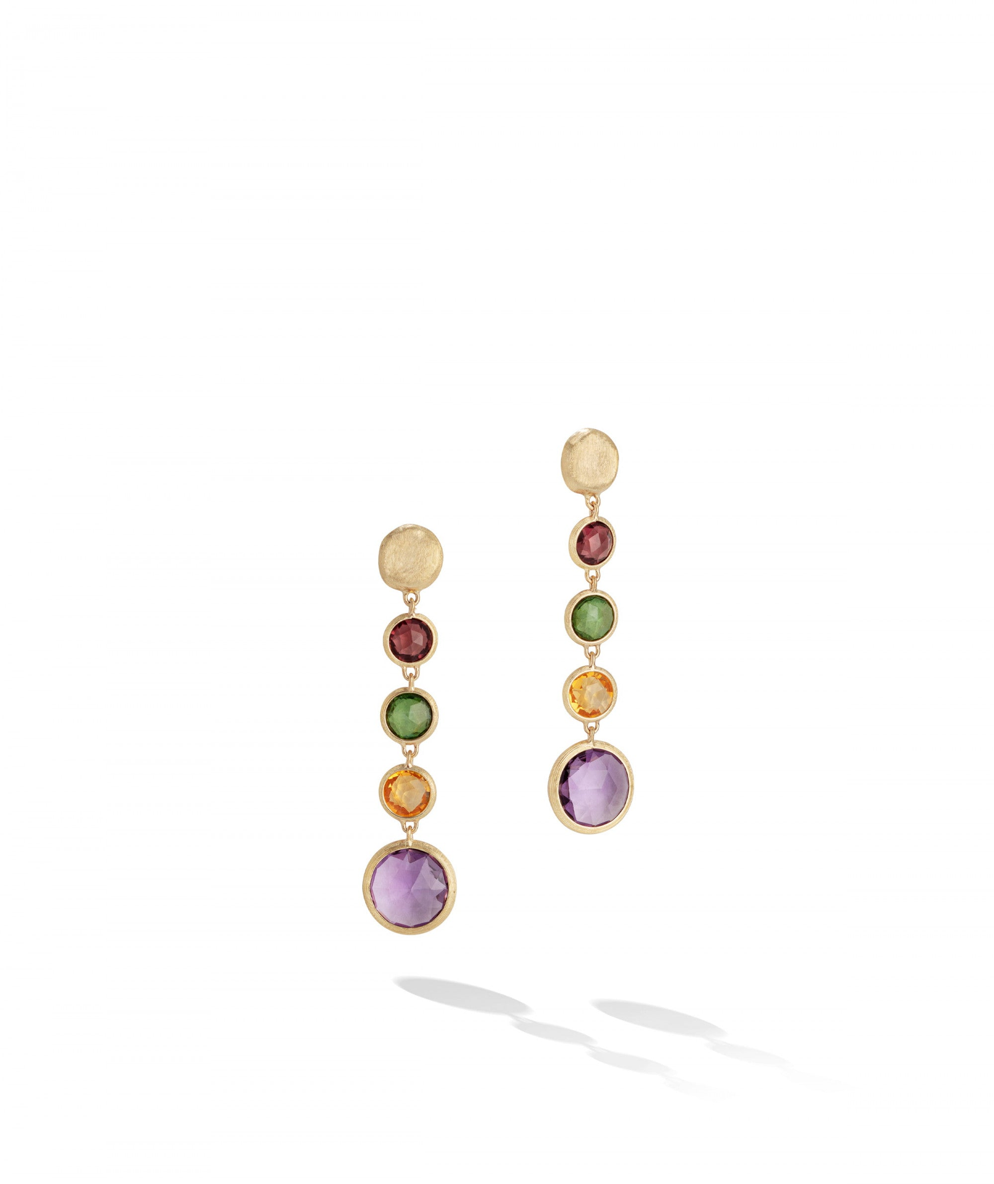 Jaipur Colour Drop Earrings in 18k Yellow Gold with Mixed Gemstones - Orsini Jewellers NZ