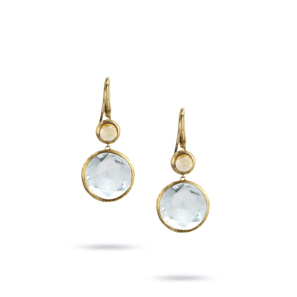 Jaipur Drop Earrings with French Hook in 18K Yellow Gold with Sky Topaz and Citrine - Orsini Jewellers NZ